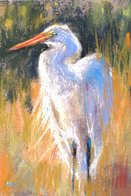 """Plein Air from Photos... Pawley's Island Day 2...Egret"" original fine art by Karen Margulis"