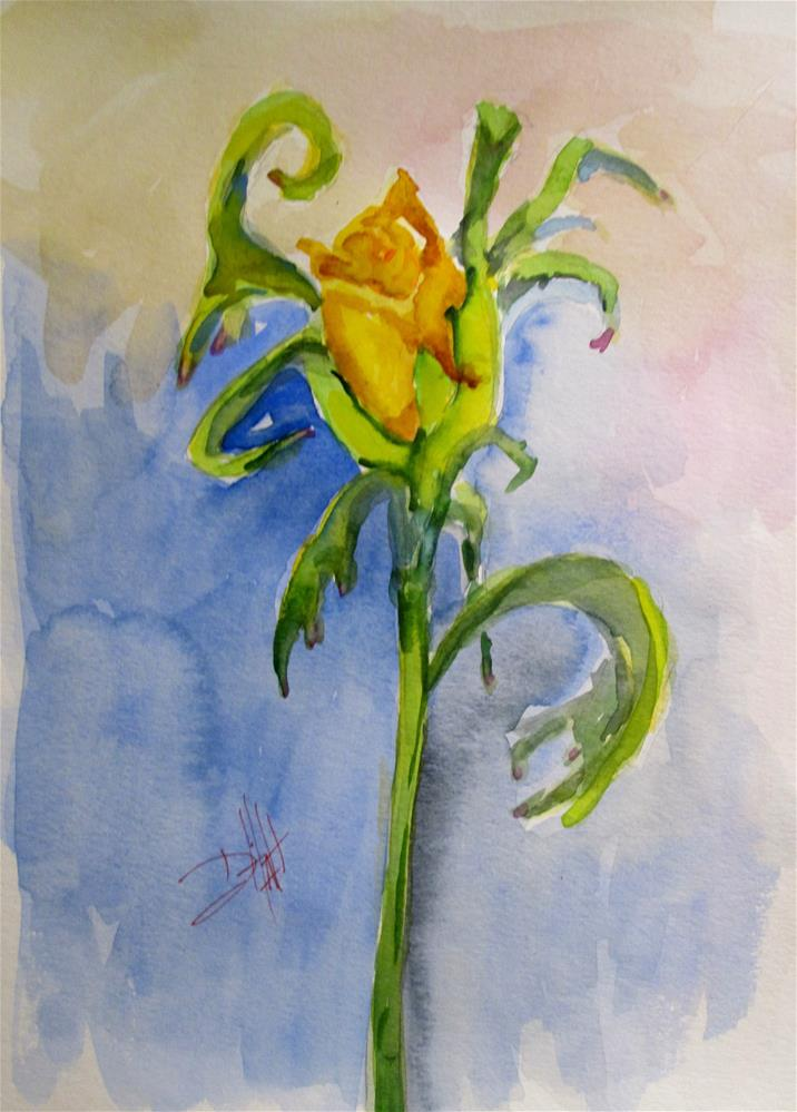 """""""Yellow Rose Bud"""" original fine art by Delilah Smith"""