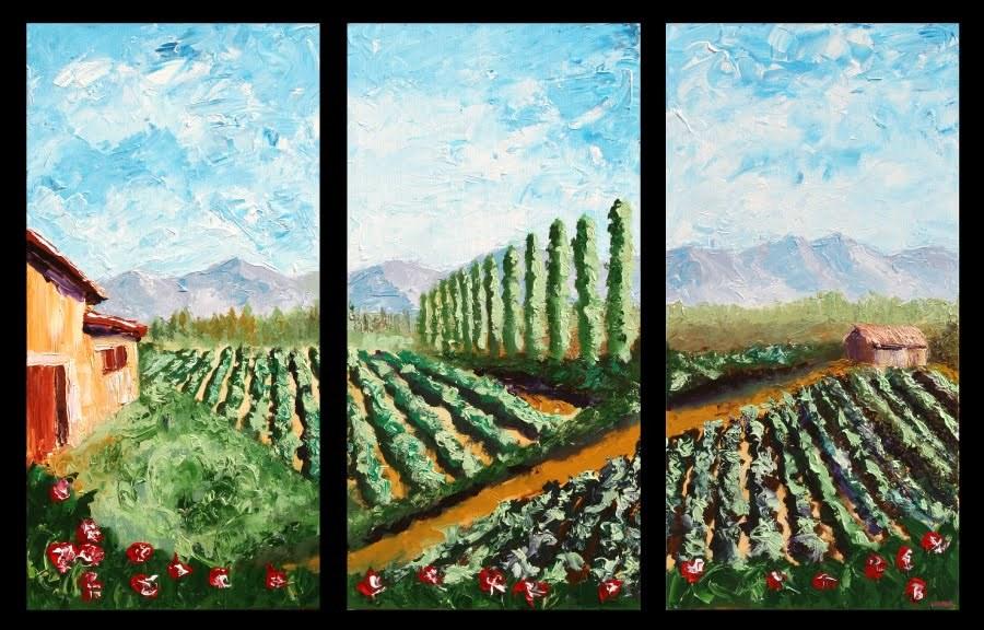 """Mark Webster - Vineyard Palette Knife Acrylic Painting Triptych"" original fine art by Mark Webster"
