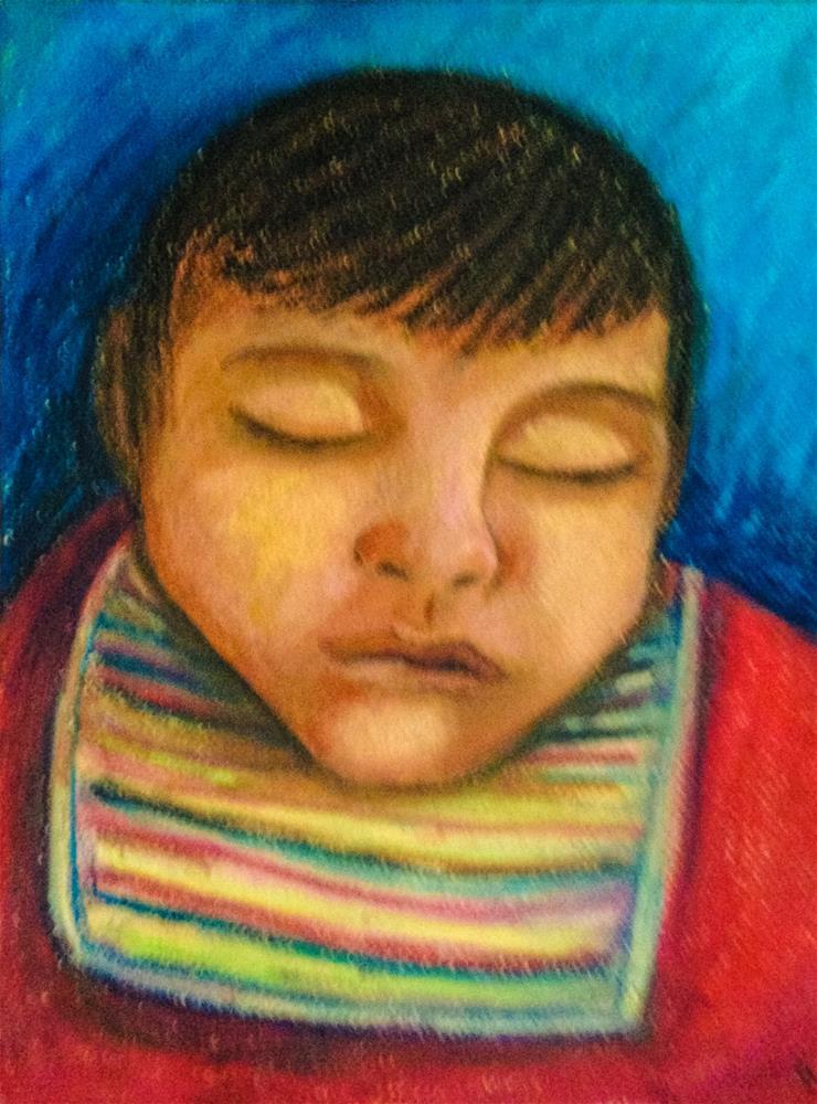 """Child taking a nap"" original fine art by Giovanni Antunez"