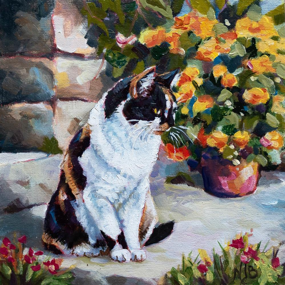 """On the terrace"" original fine art by Nicole Barrière-Jahan"