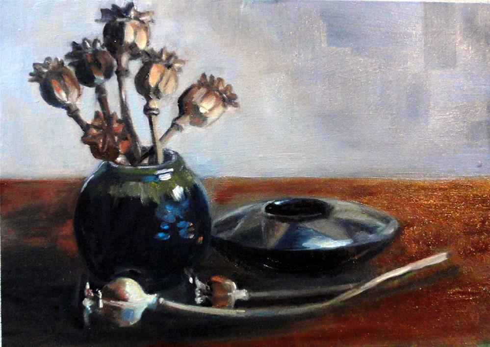 """Dried Arrangement With Black Pottery"" original fine art by Cietha Wilson"