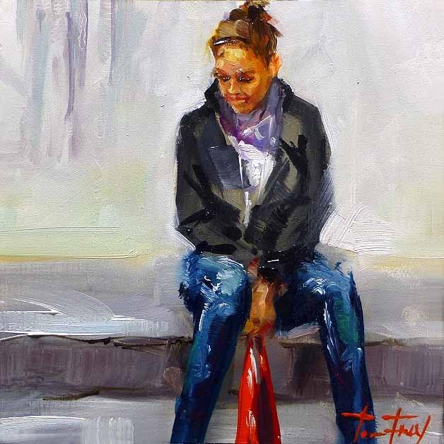 """Seated"" original fine art by Jurij Frey"