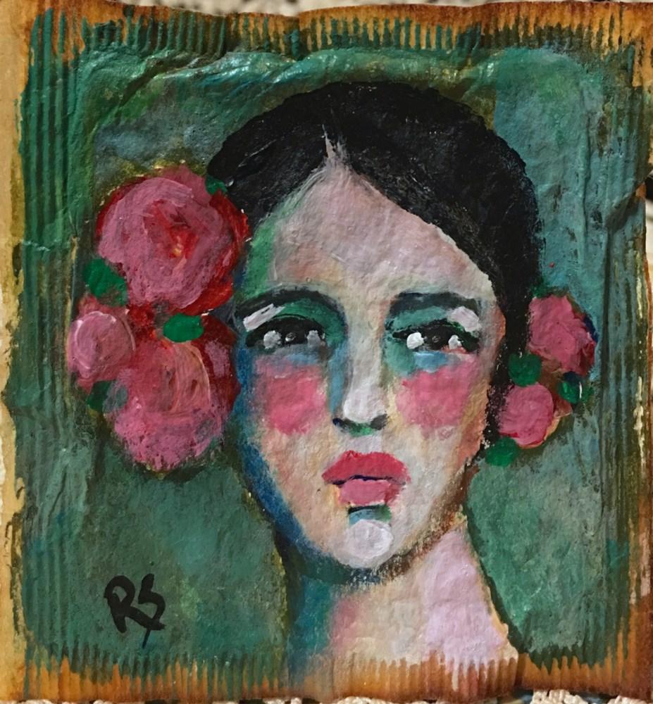 """Tea Bag Portrait - Rosita"" original fine art by Roberta Schmidt"