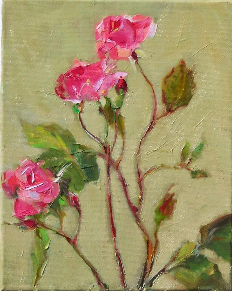 """New Roses,still life,oil on canvas,10x8,price$275"" original fine art by Joy Olney"