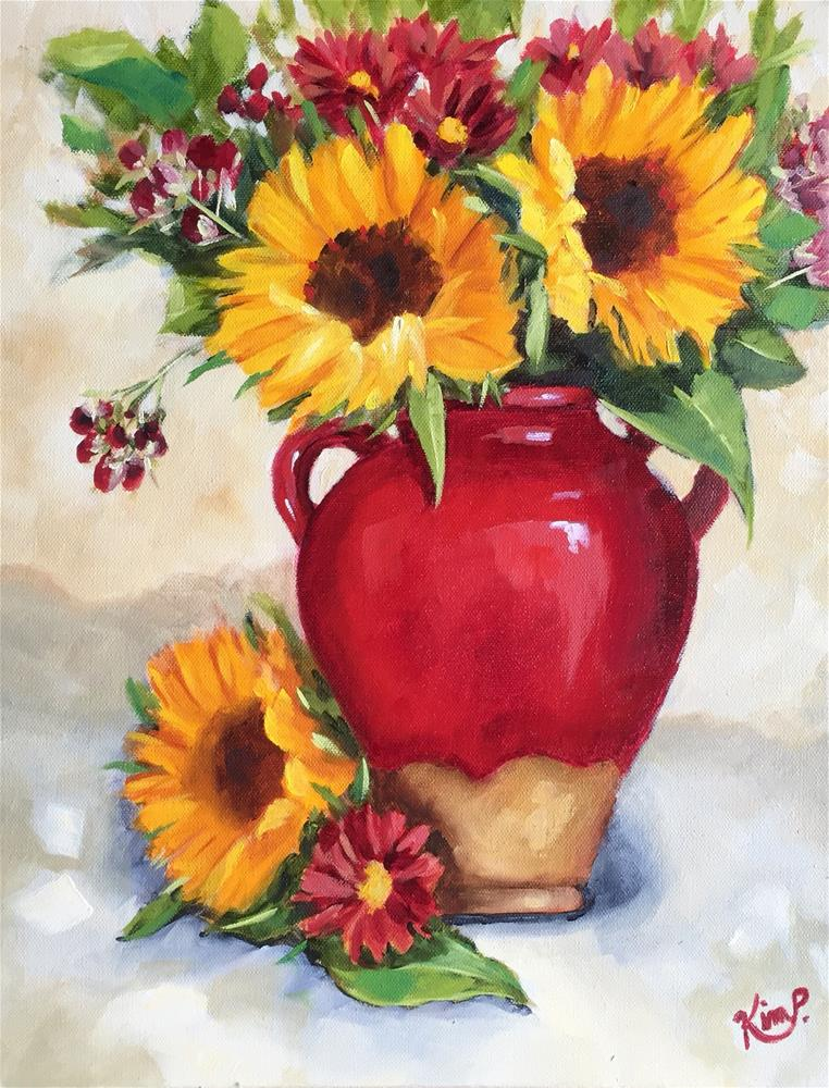 """""""Sunflowers in Red Tuscan Urn"""" original fine art by Kim Peterson"""