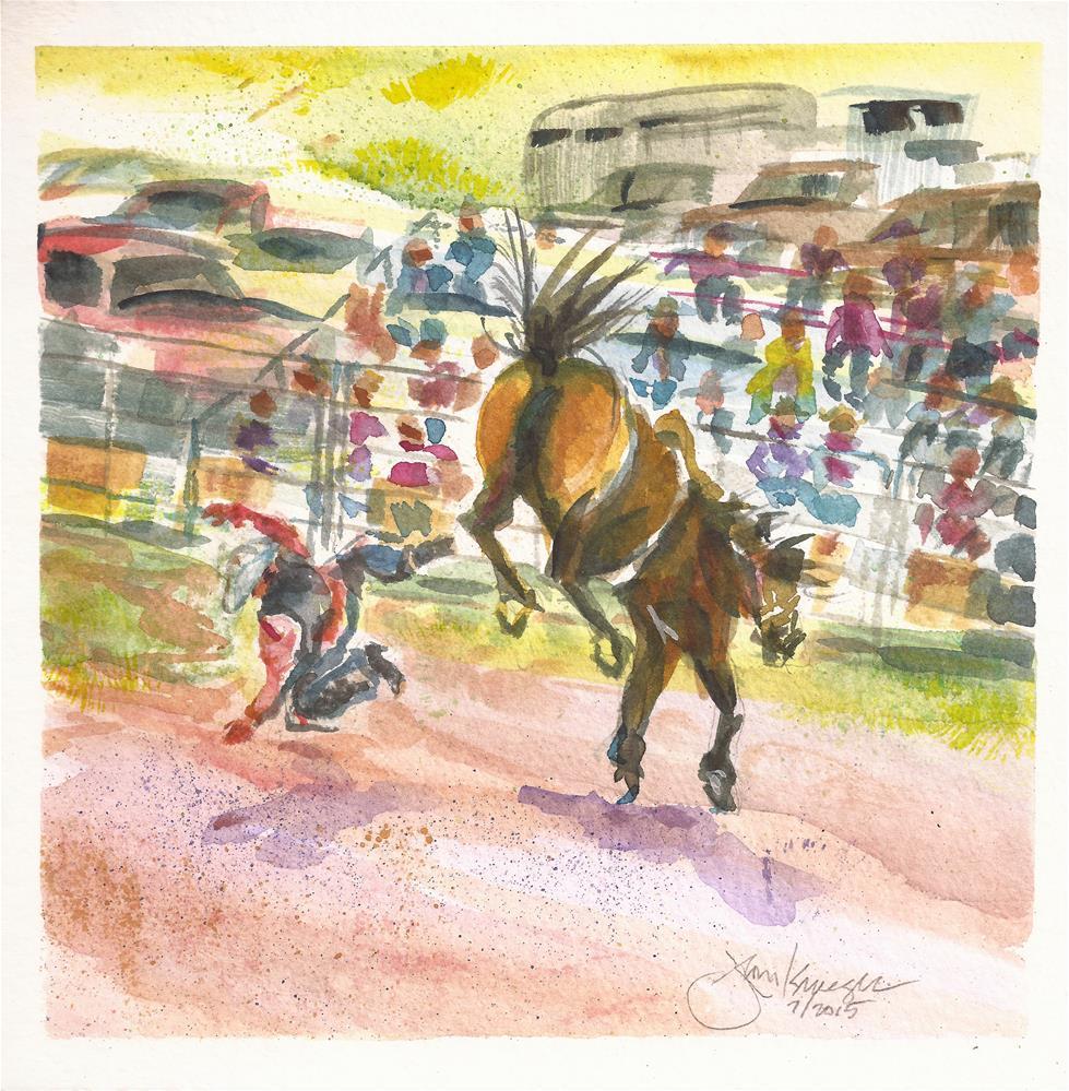 """Bronc Riding, Westcliffe, CO"" original fine art by Jean Krueger"