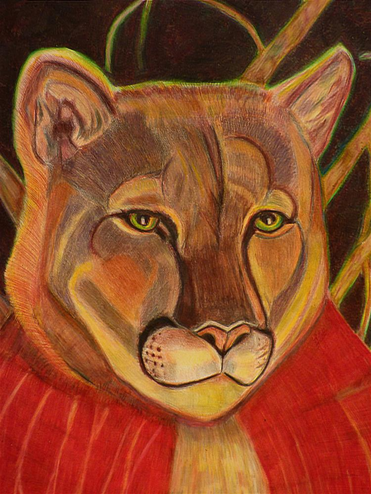"""Little Red Riding Cougar"" original fine art by Terri Brown-Davidson"
