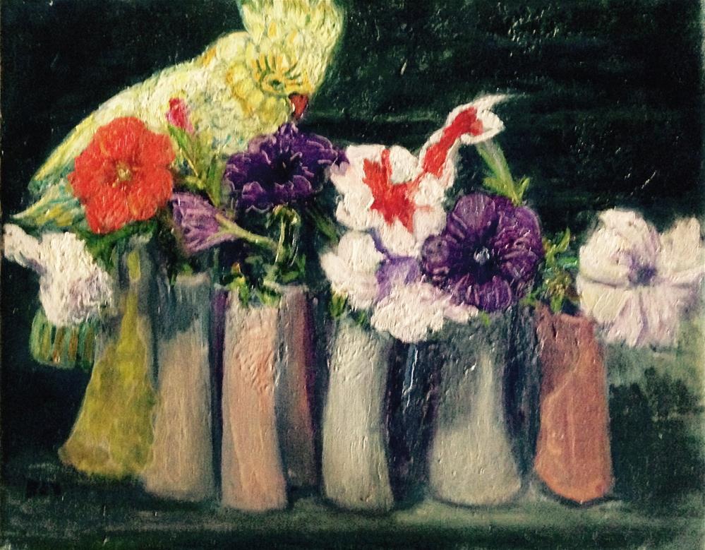 """Small blooms with bird figurine"" original fine art by barbara yongue"