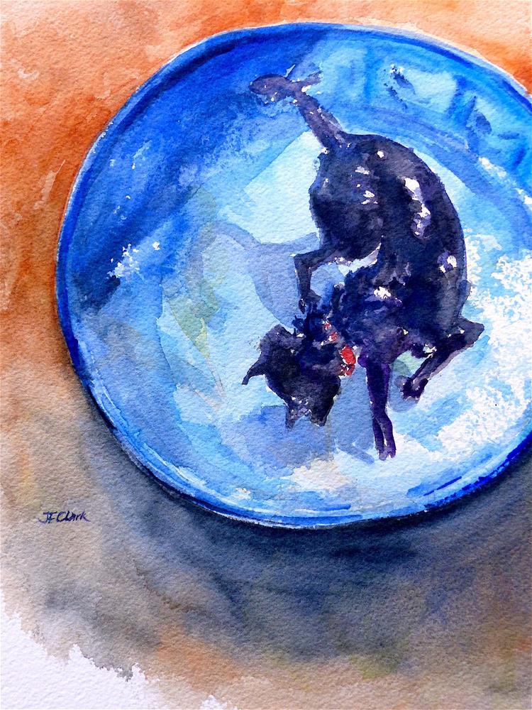 """Pup in the Pool"" original fine art by Judith Freeman Clark"