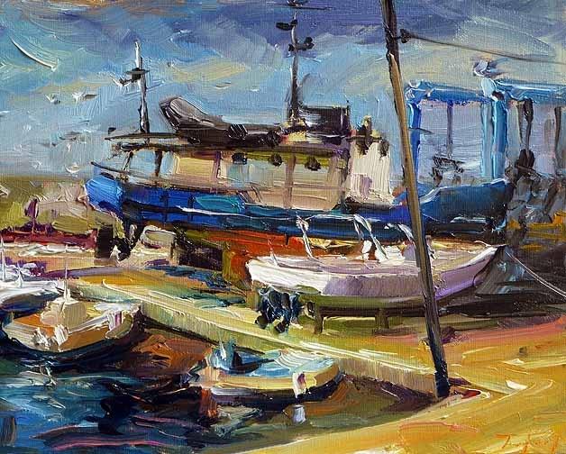 """""""im Hafen"""" original fine art by Jurij Frey"""