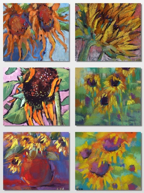 """Painting Sunflowers ...An Idea for a Painting Project"" original fine art by Karen Margulis"