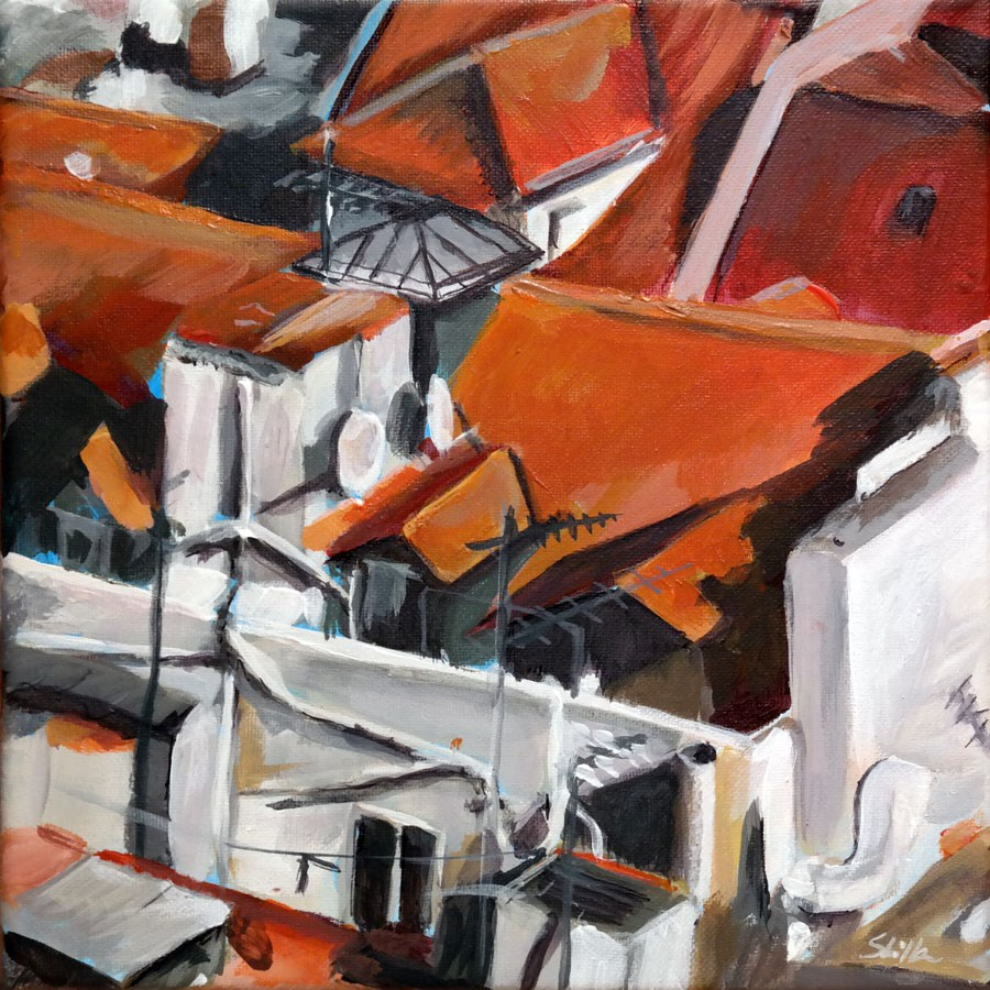 """1266 Roof World"" original fine art by Dietmar Stiller"