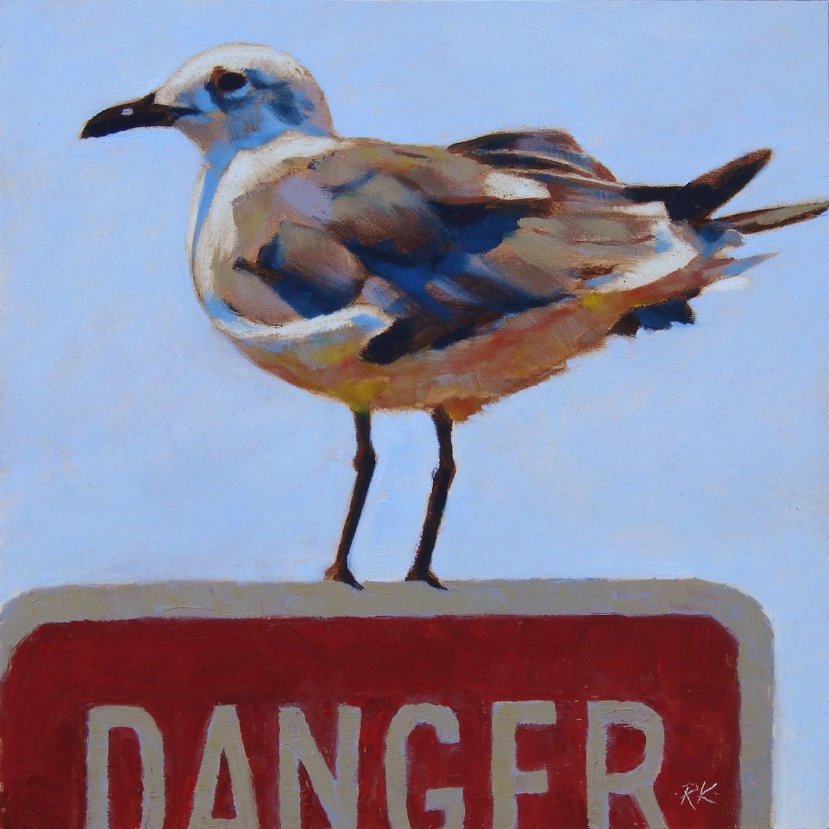 """""""Danger: Gull!"""" original fine art by Rita Kirkman"""
