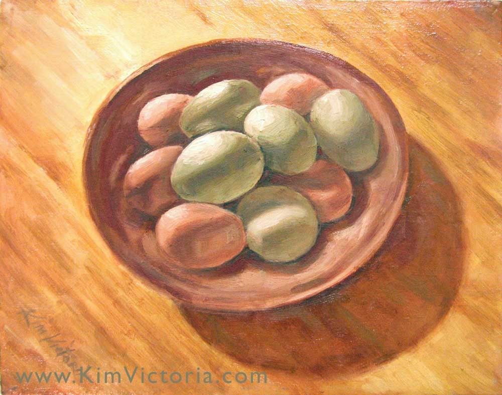 """Araucana Eggs"" original fine art by Kim Victoria"