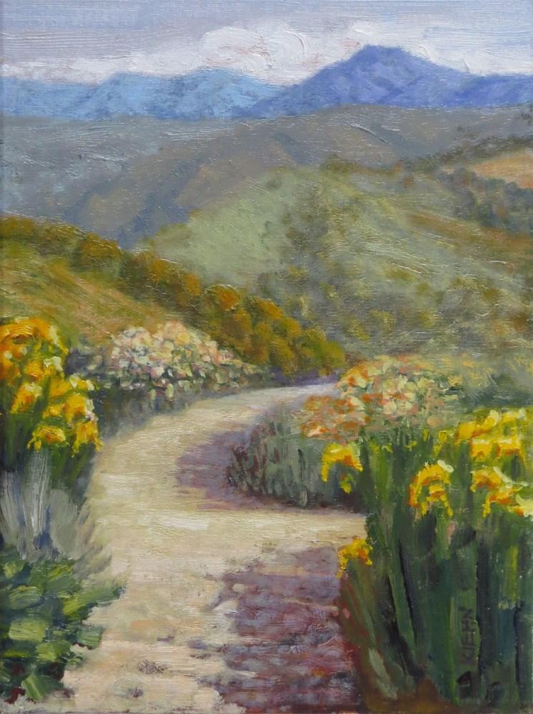 """Garden with Mountain View"" original fine art by Richard Kiehn"