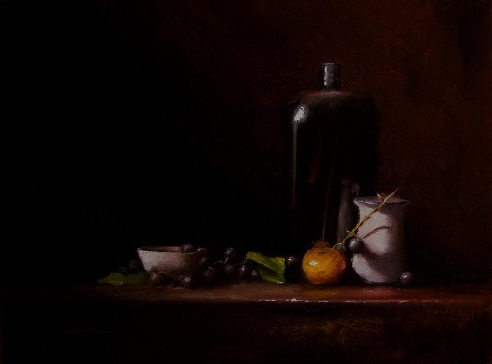 """Still Life with Black Bottle"" original fine art by Neil Carroll"