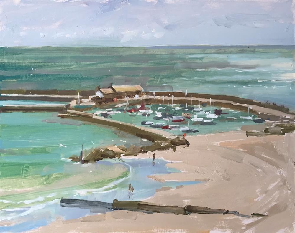 """Lyme Regis harbour"" original fine art by Haidee-Jo Summers ROI"