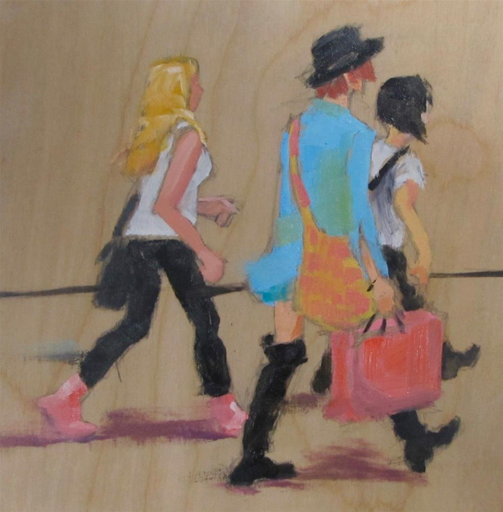 """""""Shoppers On the Go"""" original fine art by Christine Holzschuh"""