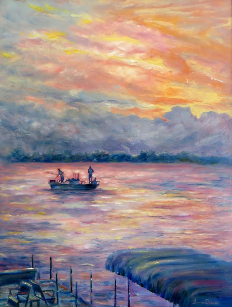 """Fishing at Sunset"" original fine art by Tammie Dickerson"