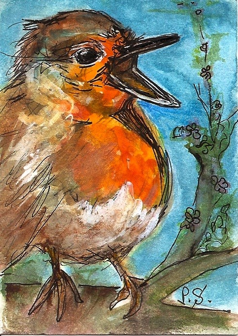 """""""ACEO Hungry Baby Robin Original WC Pen Painting illustration Penny StewArt"""" original fine art by Penny Lee StewArt"""
