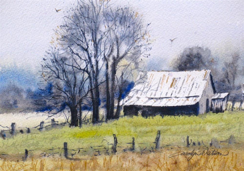 """""""Winter Farm"""" original fine art by carolyn watson"""