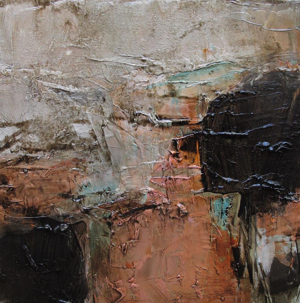 """A ZINFANDEL WINE TASTING Original Abstract 4X4 Painting OIL"" original fine art by Colette Davis"