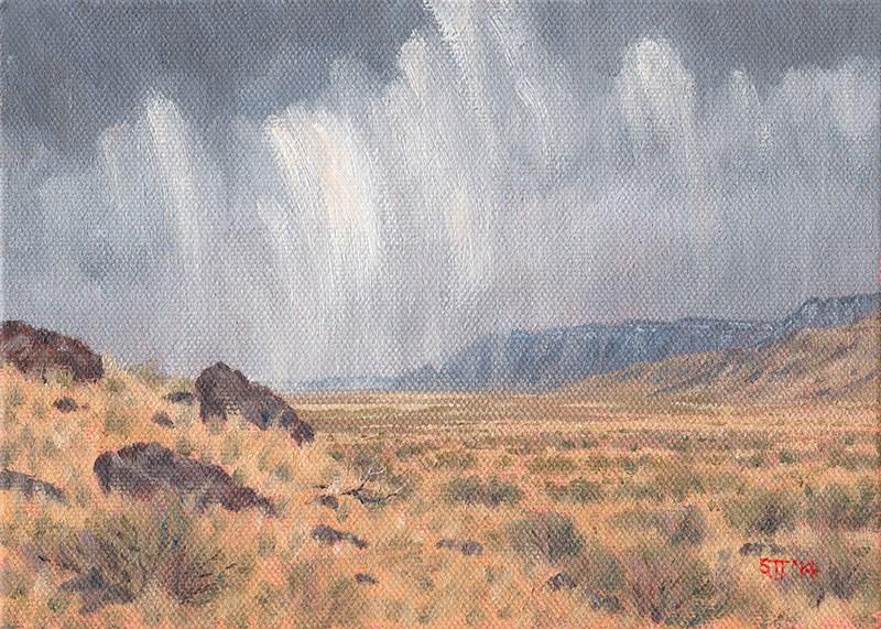 """""""C1588 December Rain Shower (Hart Mountain National Antelope Refuge, Oregon High Desert)"""" original fine art by Steven Thor Johanneson"""