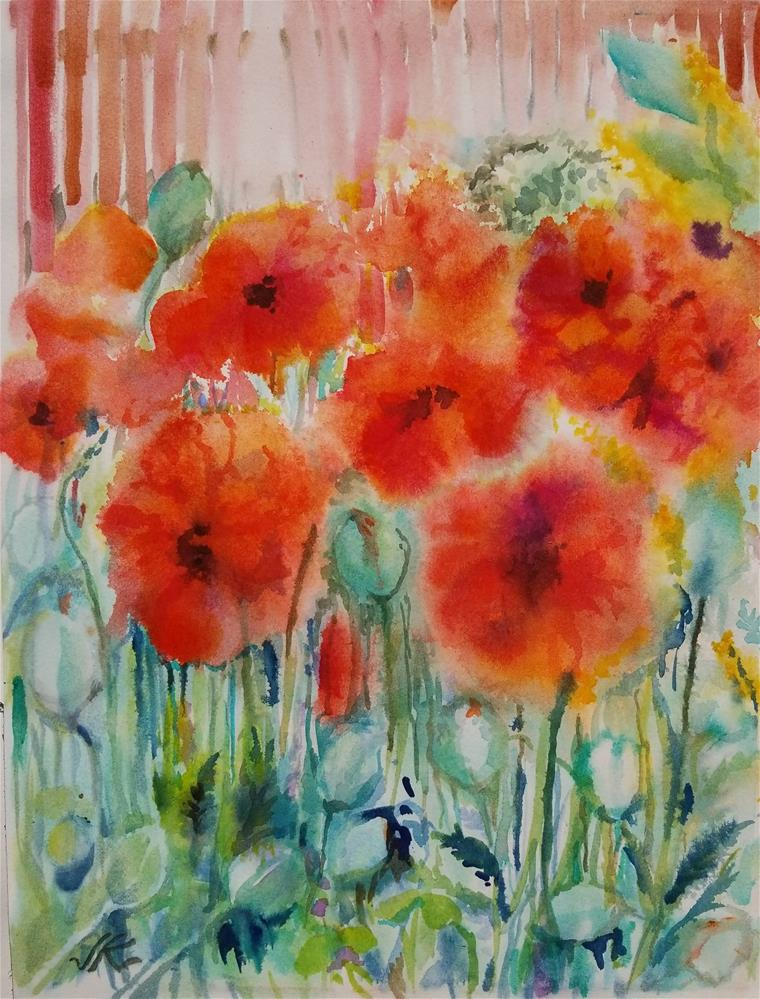 """Red Poppies"" original fine art by Jean Krueger"