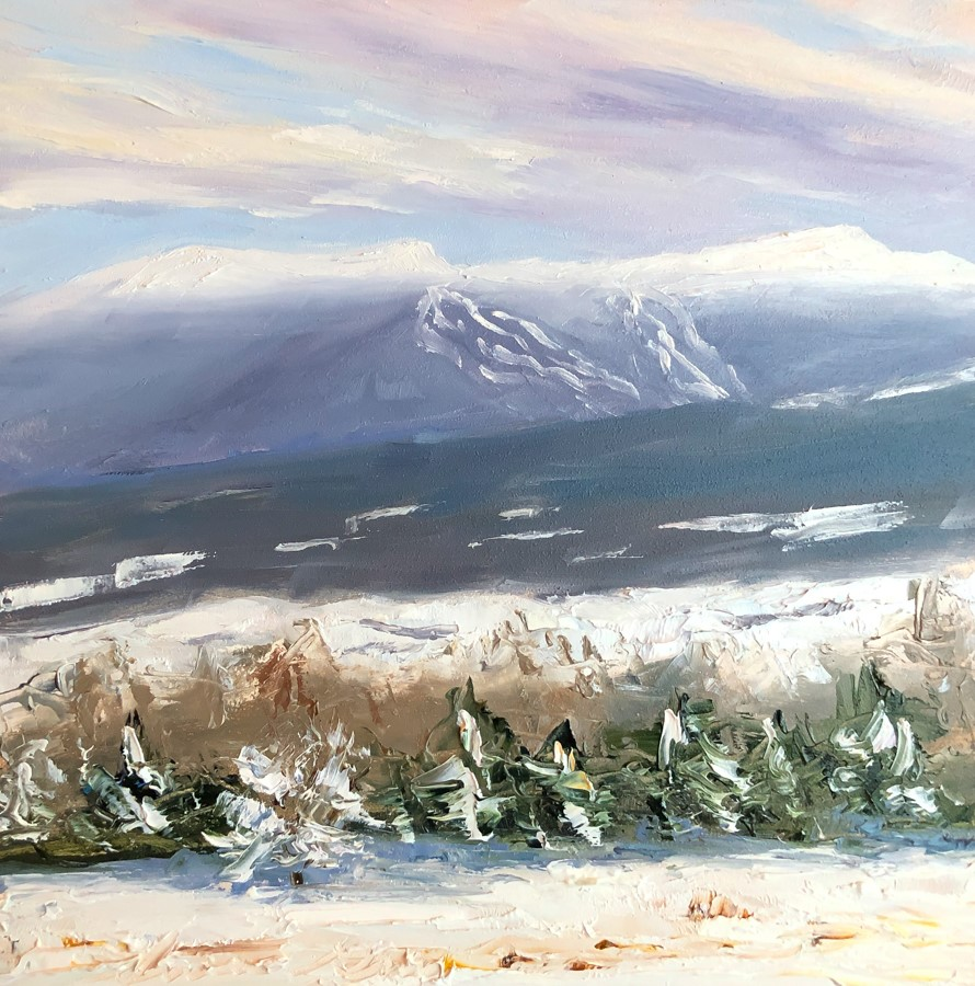 """#188 - Dawn- Mt Mansfield - Stowe, VT"" original fine art by Sara Gray"