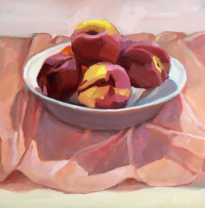 """Nectarines in White Bowl on Pink Cloth"" original fine art by Robin Rosenthal"