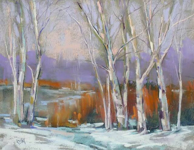 """""""Painting Snow with Almost White Pastels"""" original fine art by Karen Margulis"""