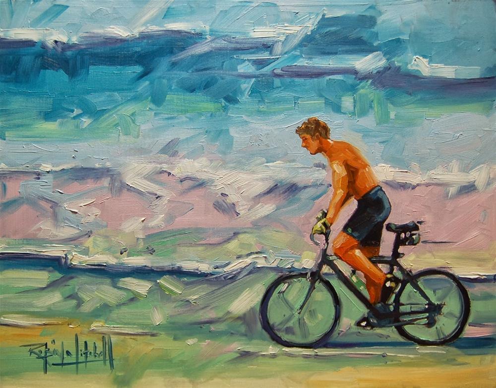 """No 620 Evening ride on the Beach"" original fine art by Robin J Mitchell"