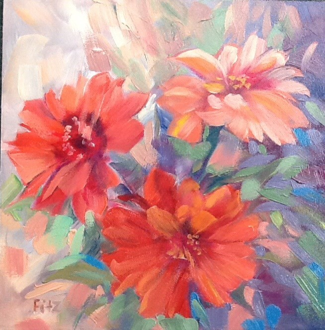 """Colorful Zinnias"" original fine art by Charlotte Fitzgerald"