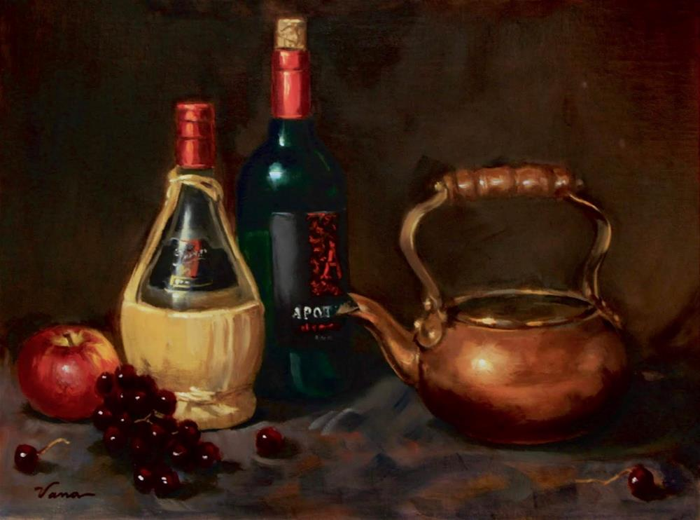 """Wine Bottles and Copper"" original fine art by Vana Meyers"