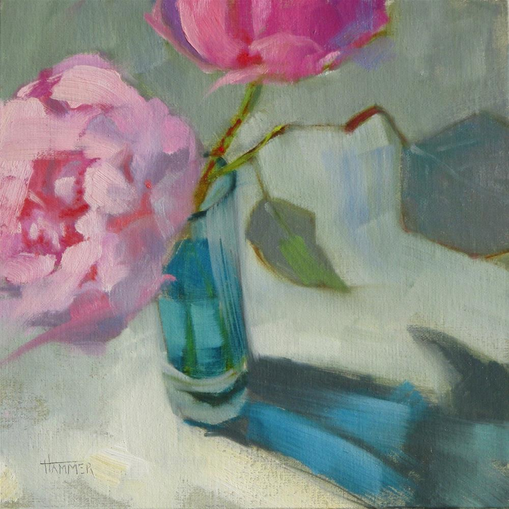 """Peony Duo 8in x 8in  oil"" original fine art by Claudia Hammer"