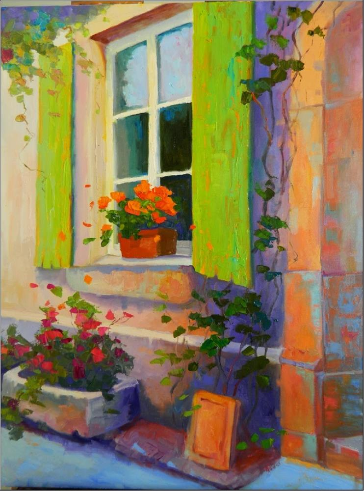 """Morning Light, Alsace, 30x40, Alsace, green shutters, France, large paintings, street scenes, Mary"" original fine art by Maryanne Jacobsen"