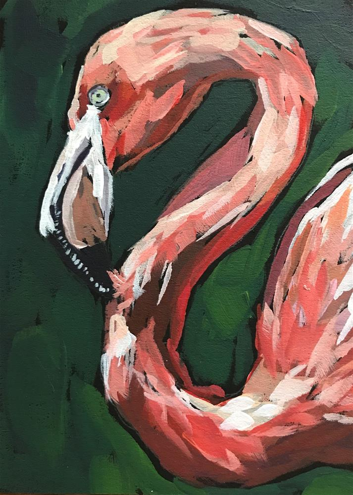 """""""Flamingo 2"""" original fine art by Gina Garding"""