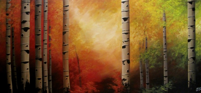 """Autumn Evening Birch"" original fine art by ~ces~ Christine E. S. Code"