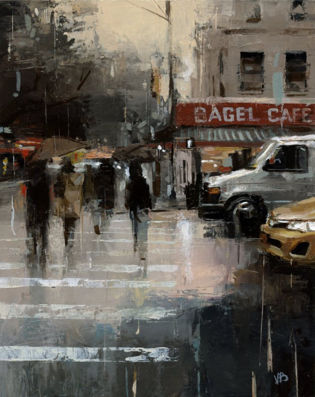 """""""Bagel Cafe"""" original fine art by Victor Bauer"""