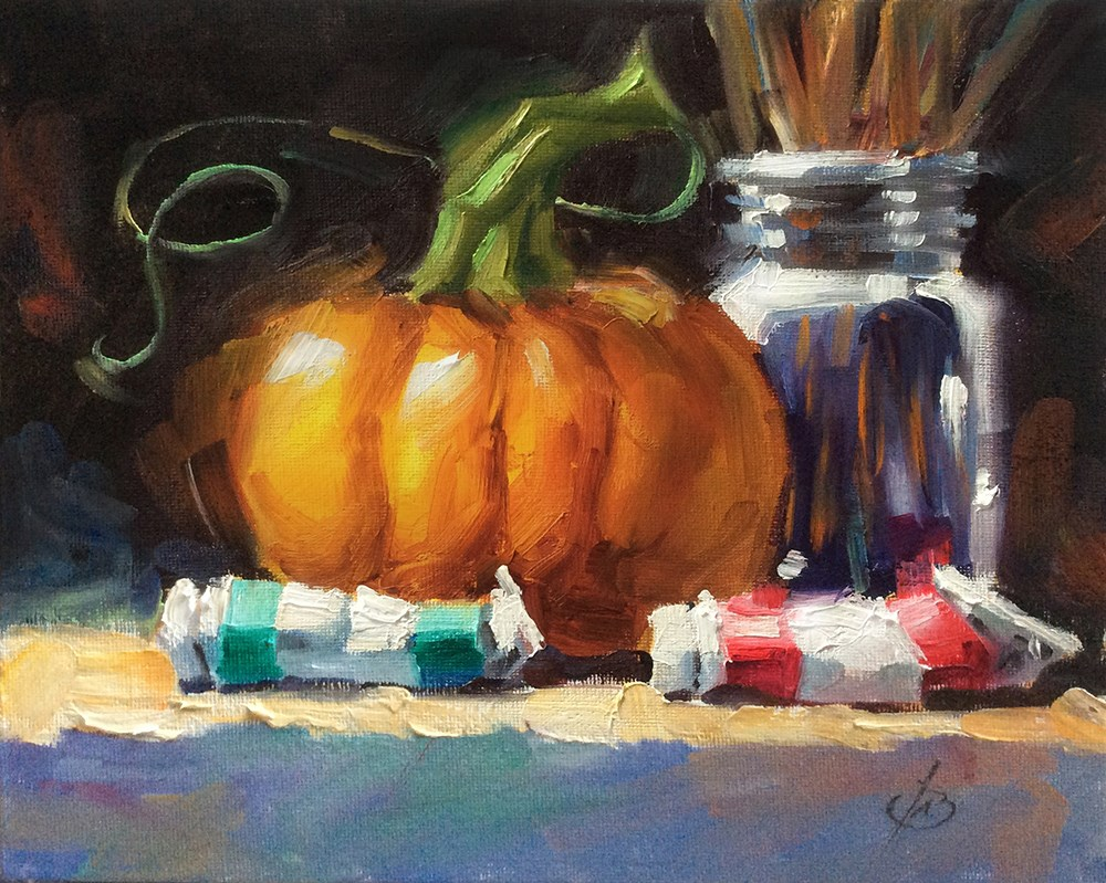 """STUDIO PUMPKIN"" original fine art by Tom Brown"