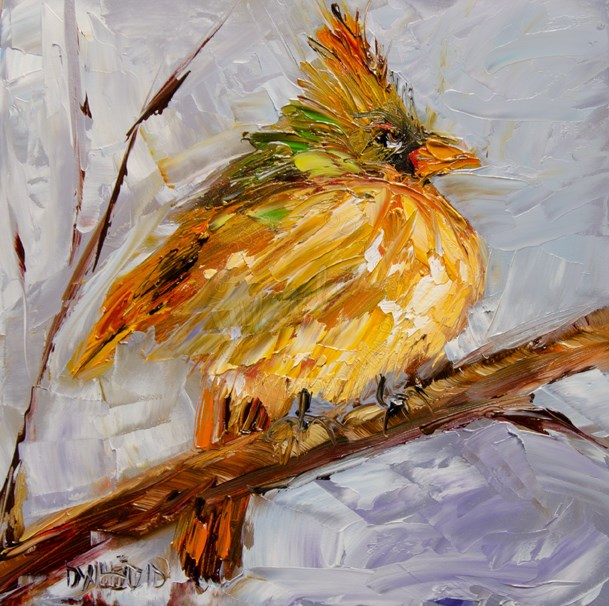 """Cardinal Morning"" original fine art by Diane Whitehead"