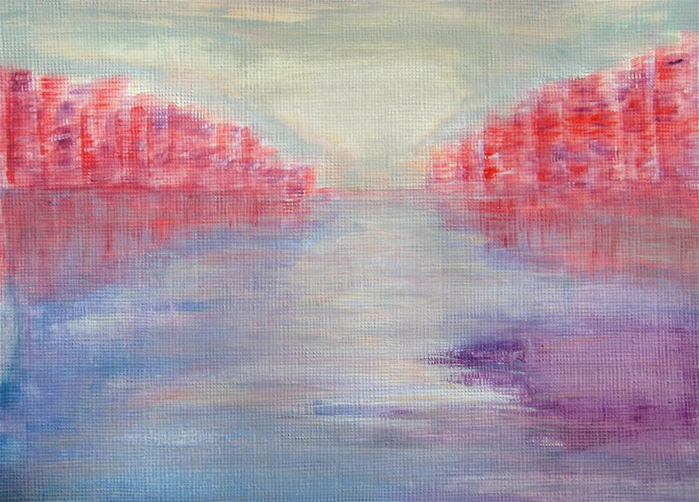 """Pink Blue Purple Landscape"" original fine art by Alina Frent"