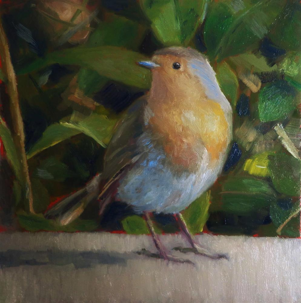 """European Robin"" original fine art by Maria Z."