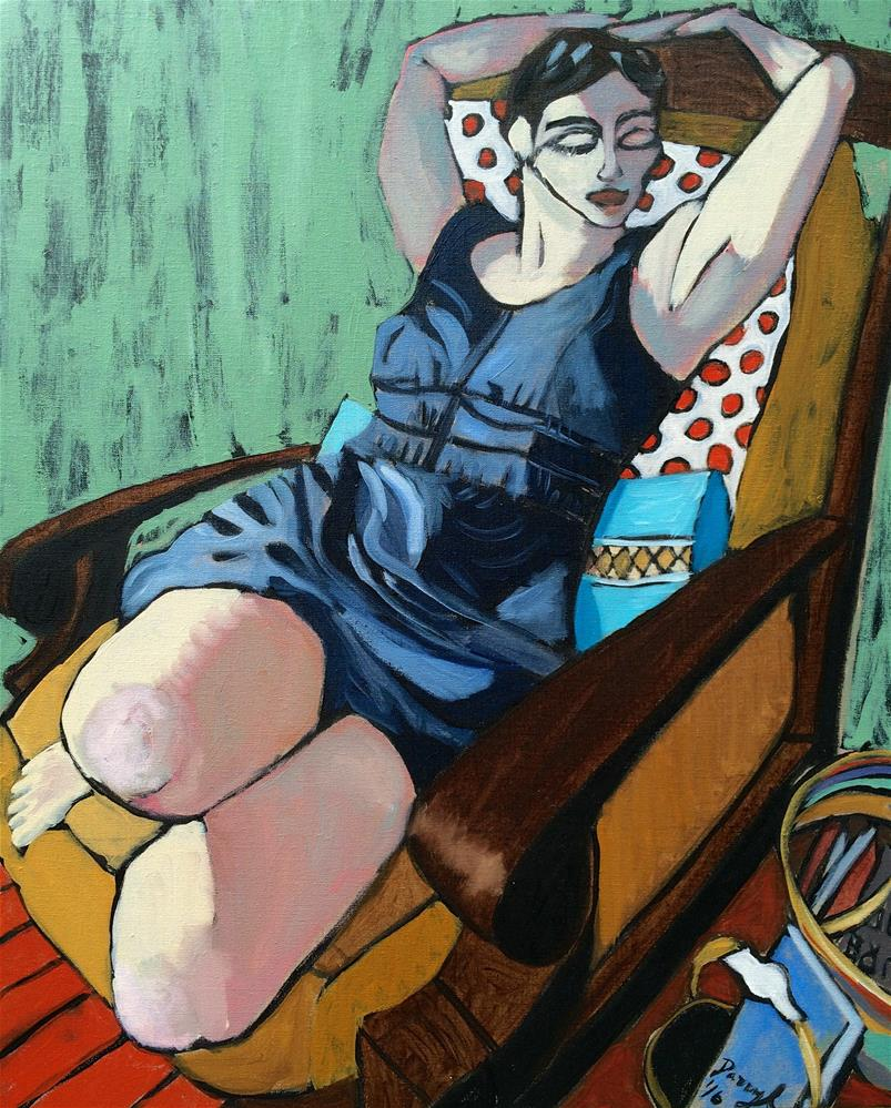 """Woman in a Denim Dress"" original fine art by Darryl Freeman"