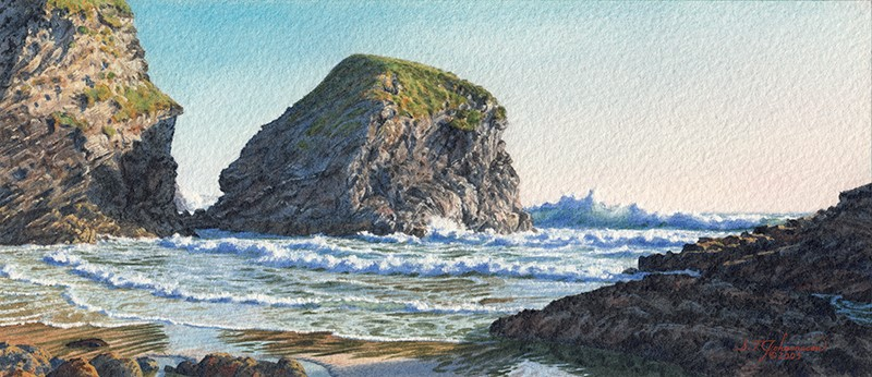 """""""""""Evening Light in Pendarves Cove"""" (Cornwall)"""" original fine art by Steven Thor Johanneson"""