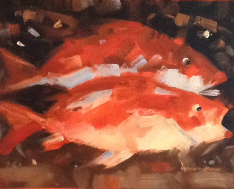 """""""WHAT'S FOR DINNER?"""" original fine art by Charlotte Bankhead Hedrick"""