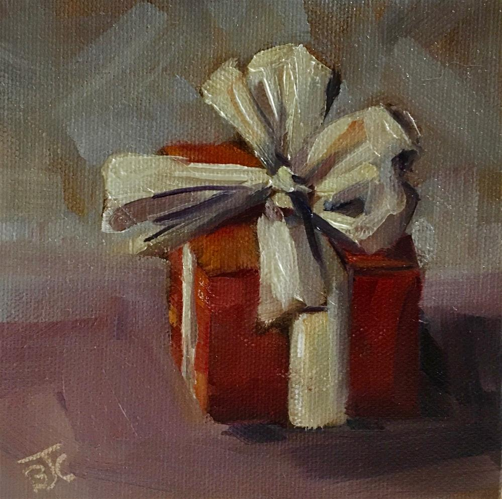 """""""Whose gift is this?"""" original fine art by Bobbie Cook"""