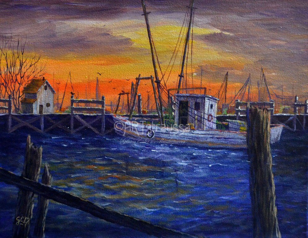 """Shrimper At The Pier"" original fine art by Gloria Ester"