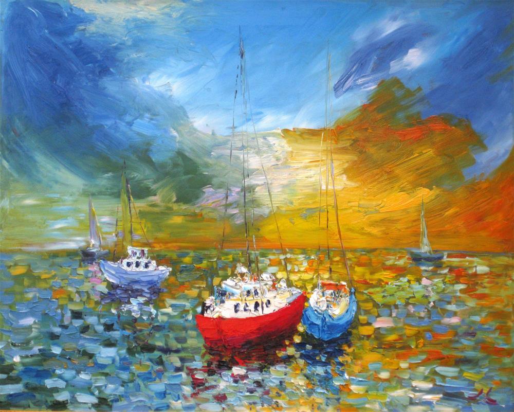 """""""Sunrise Sea"""" original fine art by Julia Lu"""